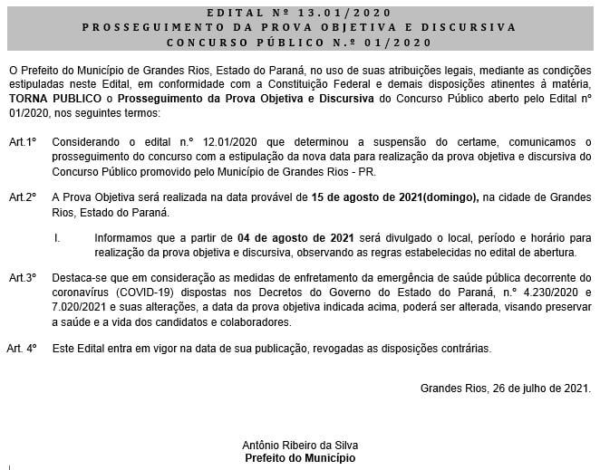 EDITAL Nº 13.01/2020 - PROSSEGUIMENTO DA PROVA OBJETIVA E DISCURSIVA - CONCURSO PÚBLICO N.º 01/2020